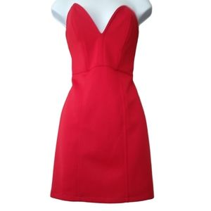 Forever 21 red strapless dress with boning